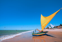 Raft Or Jangada, Typical Sail Boat From Brazil Northeast, Used For Fishing And, Actually, For Tourism Transportation. Cumbuco Beach, Ceara, Brazil.