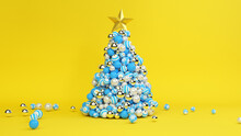 A Tree Of Christmas Balls Is Growing Dynamically On A Bright Colorful Yellow Background. 3d Illustration