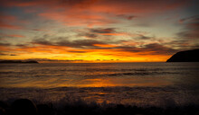 The Sun Rising Over The Atlantic Ocean On The East Coast Of Canada