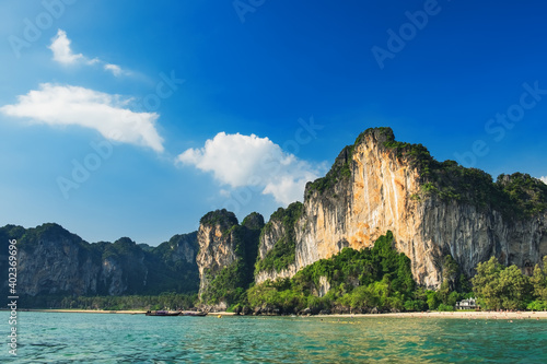 Thai beach nature landscape, exotic scenery with rocks and blue waters of Andaman sea in Krabi Province, Thailand Fototapeta