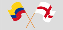 Crossed And Waving Flags Of Colombia And England