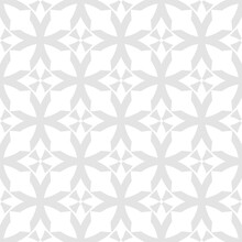 Abstract Geometric Seamless Pattern. Subtle Vector Texture With Curved Shapes, Grid, Lattice, Crosses, Floral Silhouettes. Simple Light Gray And White Background. Gothic Style Ornament. Repeat Design