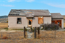 Front Of An Abandoned Farmhouse On The Plains Of Wyoming, USA