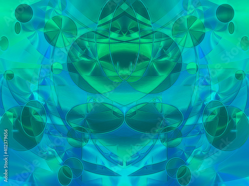 Foto Luminous spheres and orbs comprise this colorful abstract background