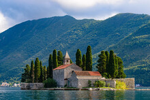 Island Of Saint George, An Islet Off The Coast Of Perast In The Bay Of Kotor, Montenegro