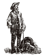 William Frederick Cody Or Buffalo Bill Standig Beside His Saddle And Holding A Gun