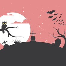 Scary Night In Cemetery Vector Illustration Background Design