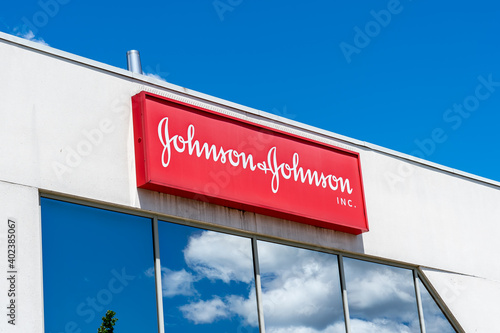 Markham, Ontario, Canada - June 14, 2019: Sign of Johnson & Johnson Inc. Canada in Markham. Johnson & Johnson Inc. is an American medical devices, pharmaceutical and packaged goods company.