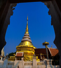 The Beautiful Golden Color Of The Relics, With Clear Blue Sky Background