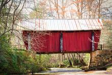 The Last Covered Bridge In South Carolina, USA, Crossing A Small Stream.
