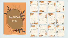 2021 Calendar Template Abstract With Floral