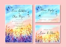 Watercolor Wedding Invitation Card With Sunset Landscape And Birds