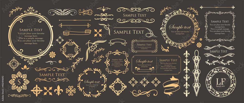 Fototapeta 高級感のあるフレームデザイン カードデザイン アンティーク ラグジュリー ビンテージ
