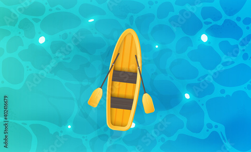 Yellow boat with oars. Turquoise water surface in the ocean. View from above. Background for a summer poster, foyer or postcard. Vector.