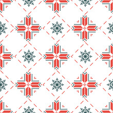 National Slavic Folk Symbols From Belarus On Repeating Background For Prints, Textiles And Fabric Design. Seamless Pattern With Belarusian Traditional Ornament In Historical Red And White Colors.