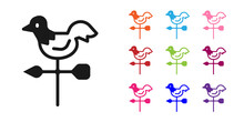 Black Rooster Weather Vane Icon Isolated On White Background. Weathercock Sign. Windvane Rooster. Set Icons Colorful. Vector.