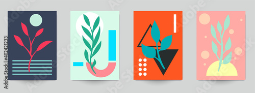 Fotografia, Obraz Set of abstract art concept composition with silhouettes leafs and geometric shapes in minimal style