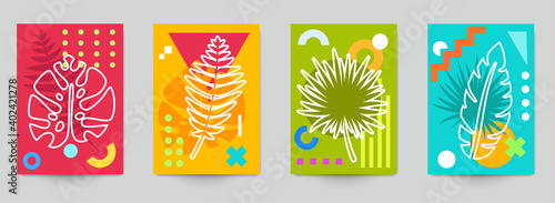 Fototapeta Set of abstract art concept composition with silhouettes leafs and geometric shapes in minimal style. Design modern trendy background for print, poster, card, wallpaper. Botanical vector illustration. obraz