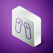 Isometric line Slipper icon isolated on purple background. Flip flops sign. Silver square button. Vector Illustration.