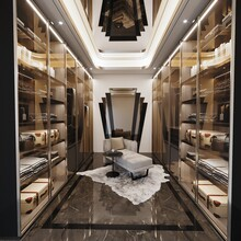 Interior Of Dressing Room Design With Cabinet And Chairs, 3d Render