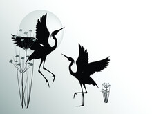 Two Herons With Raised Wings On The Background Of Marsh Plants And Sun Isolated On A White Background. Vector Silhouette Drawing.