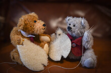 Two Home Made Teddy Bears Sewing Another Teddy Bear