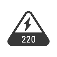 220 Volts Triangular Shaped Sign Bold Black Silhouette Icon Isolated On White. Warning, Danger, Electricity.