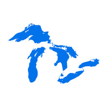 Great Lakes Map Michigan Superior Vector Silhouette Abstract Illustration Map