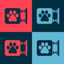 Pop Art Veterinary Clinic Symbol Icon Isolated On Color Background. Cross Hospital Sign. A Stylized Paw Print Dog Or Cat. Pet First Aid Sign. Vector.