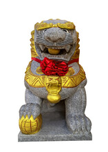 Lion Dogs Or Foo Dogs Stone Isolate On White Background.