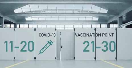 Panel Szklany Siatkówka Covid-19 Impfzentrum gegen Coronavirus in Messehalle