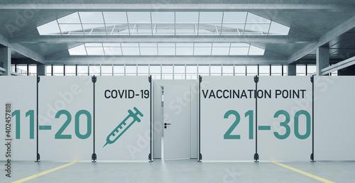 Covid-19 Impfzentrum gegen Coronavirus in Messehalle