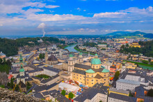 A Picturesque View From A Height To The Birthplace Of Mozart, The City Of Salsburg (Austria)