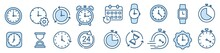 Time Clocks Icons In Thin Line Style. Vector Illustration