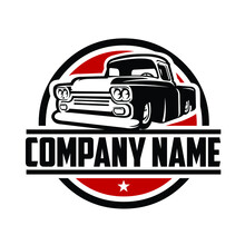 Retro Classic Truck Ready Made Logo Template. Red Background. Circle Emblem Concept. Badge Logo