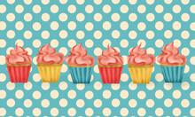Cupcakes On Polkadot Blue Background