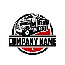 Tipper Truck. Dump Truck. Ready Made Logo Template Vector Isolated
