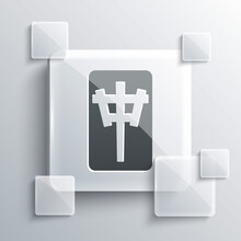 Grey Mahjong Pieces Icon Isolated On Grey Background. Chinese Mahjong Red Dragon Game Emoji. Square Glass Panels. Vector.