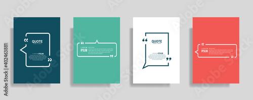 Fototapeta Quote frames blank templates set. Text in brackets, citation empty speech bubbles. Text box isolated on color background obraz na płótnie