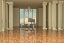 Piano Room With Columns And Big Window, 3d Rendering
