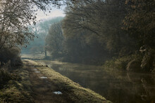 Frosty Morning Along The Kennet  And Avon Canal Near Bath In Somerset.