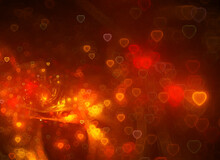 Orange Hearts Fractal On A Dark Background