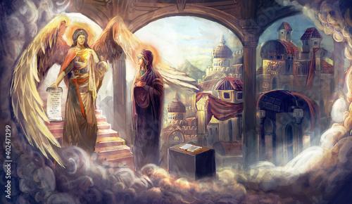 Fotografie, Obraz Virgin Mary and archangel Gabriel, Annunciation