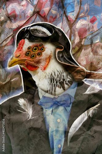 Canvas Print anthropomorphic Chicken Businessman Suit