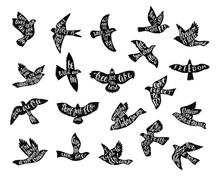 Set Of Bird's Silhouettes With Handwriting Inspirational Quotes.