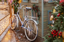 Bike In Icicles And Snow Ice At The Winter House City Road