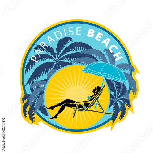 Canvas Autocollant, étiquette ou transfert pour tee shirt d'un bain de soleil sur une plage paradisiaque
