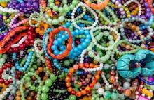 Beads Bracelet Rainbow Jewellery Background.