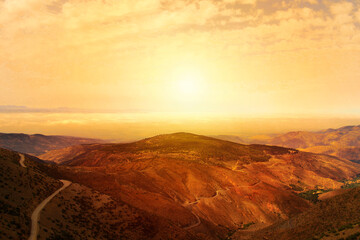 Landscape.Photo of nature.Beautiful moutains from higher view and a beautiful sunset in Morocco.