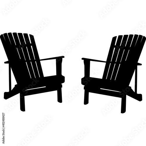 Valokuvatapetti Adirondack chairs Silhouette Vector